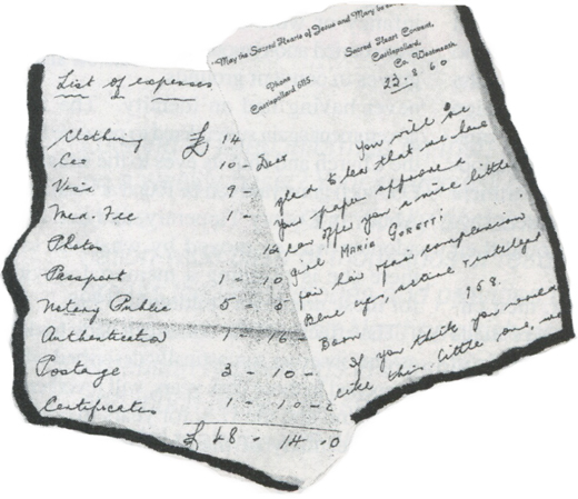 <em>Left: A list of expenses involved in Marie's adoption. Right: A letter from a nun at Castlepollard to Marie's adoptive parents describing the little girl.</em>