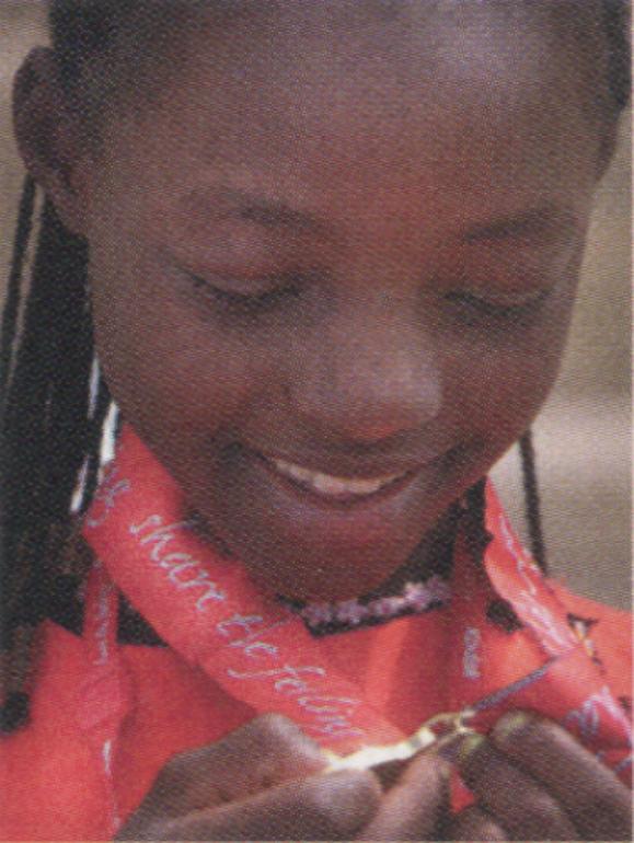 <em>Liinah Bukeya, age 12 from Uganda, winner of the gold medal in the 50 metre backstroke.</em>