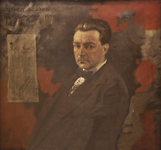 <em>Portrait of the Irish poet Oliver St. James Gogarty, painted by Sir WIlliam Orpen, currently housed at the Royal College of Surgeons in Ireland.</em>
