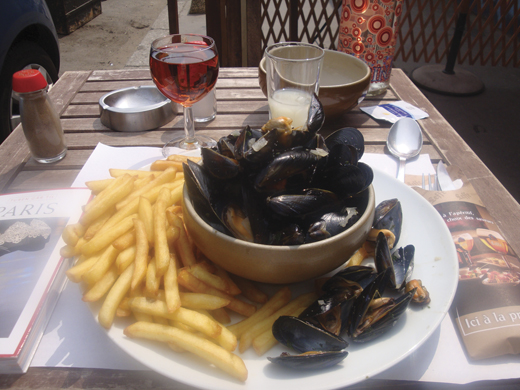 <em>Moules frites with rose and pastis.</em>