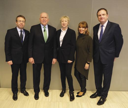 Consul General Ciarán Madden, former CIA Director John O. Brennan, Patricia Harty of Irish America, Susan Davis of Susan Davis Intl., and Kyle Clifford of the Ireland Funds.