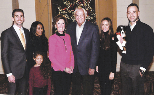 <em>Kitty and John Dearie (center), with (from left) son Michael, his wife Clarissa, their daughter Isabella, Dearie's other son John Patrick and his wife Liv.</em>