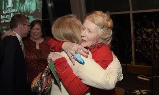 Loretta Brennan Glucksman gets a hug from Bridget Cagney at the GIH gala.