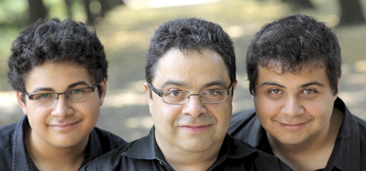 Arturo with his sons, Adam and Zack, who are now grown up and are highly regarded musicians and composers.