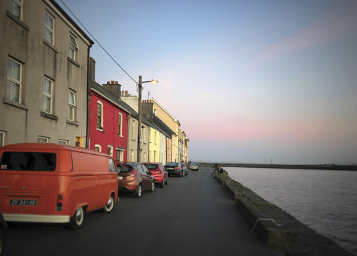 The Long Walk and Docks facing Galway Bay.