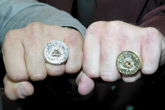 <em>Arturo Gotti and Ward pose with their new trilogy rings that Arturo had made and gave to Micky as a retirement gift. In the last fight of his career Ward lost by a decision to Gotti. The two are friends, and each received $1 million from HBO for the fight which took place in Atlantic City in June.</em>