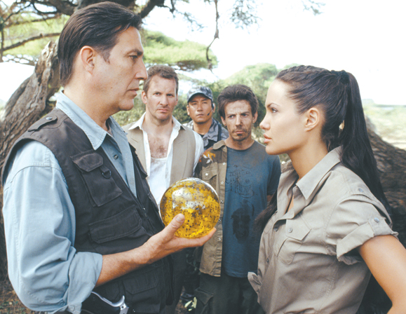 <em>Ciaran Hinds plays cat and mouse with Angelina Jolie in <strong> Tomb Raider: The Cradle of Life</strong>.</em>