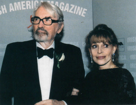 <em>Gregory Peck and his wife, Veronique at <strong>Irish America's</strong> Irish of the Century Party, 1999.</em>