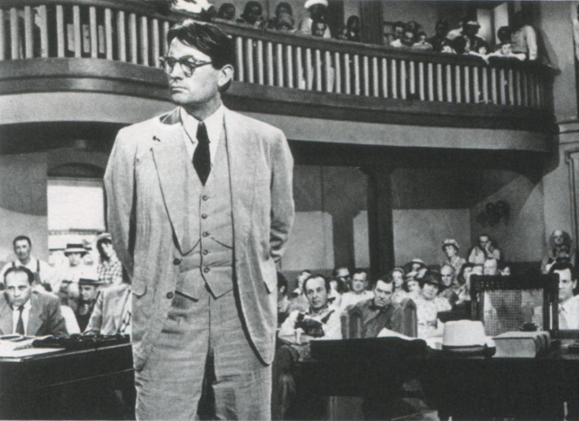 <em>Gregory Peck in his Oscar winning role as Atticus Finch in <strong>To Kill a Mockingbird</strong>.</em>