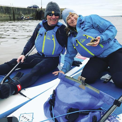 John and Pam take a break on Lough Foyle near Derry.